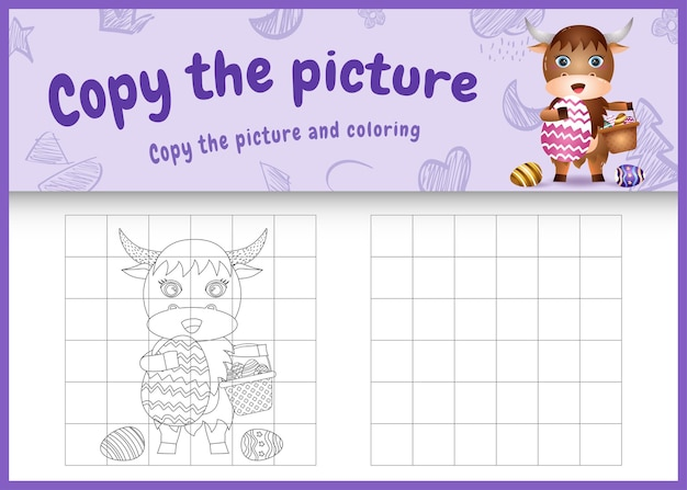 Copia l'immagine del gioco per bambini e la pagina da colorare a tema pasqua con un simpatico bufalo che tiene l'uovo secchio e l'uovo di pasqua