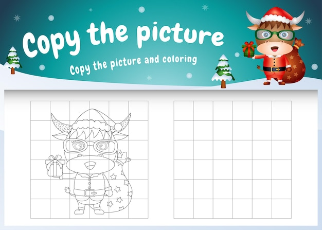 Copia l'immagine del gioco per bambini e la pagina da colorare con un simpatico bufalo usando il costume di babbo natale