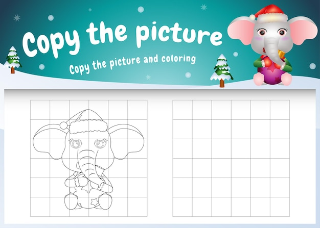 Copia l'immagine del gioco per bambini e la pagina da colorare con una simpatica palla che abbraccia un elefante