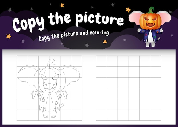 Copia l'immagine del gioco per bambini e la pagina da colorare con un simpatico elefante usando il costume di halloween