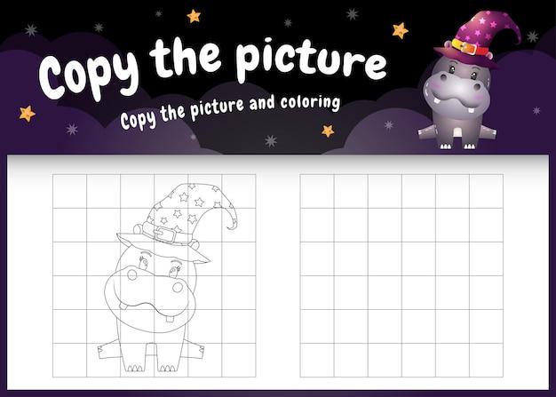 Copia l'immagine del gioco per bambini e la pagina da colorare con un simpatico ippopotamo usando il costume di halloween