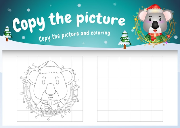 Copia l'immagine del gioco per bambini e la pagina da colorare con un simpatico koala