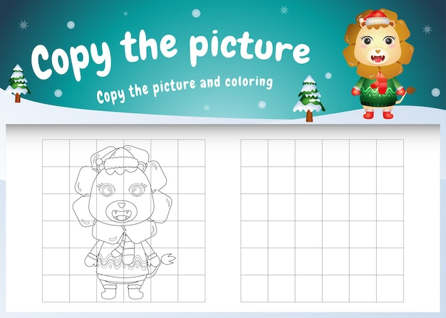 Copia l'immagine del gioco per bambini e la pagina da colorare con un leone carino usando il costume di natale