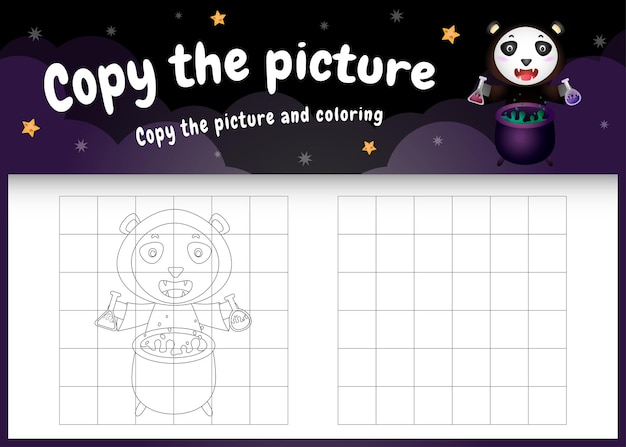 Copia l'immagine del gioco per bambini e la pagina da colorare con un simpatico orsetto panda usando il costume di halloween