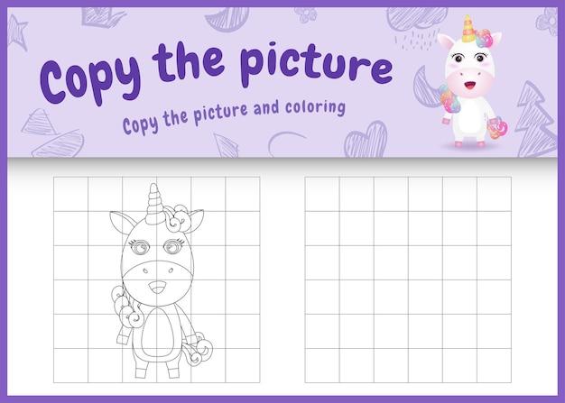 Copia l'immagine del gioco per bambini e la pagina da colorare con un unicorno carino