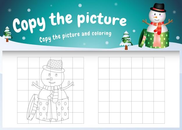 Copia l'immagine del gioco per bambini e la pagina da colorare con un pupazzo di neve