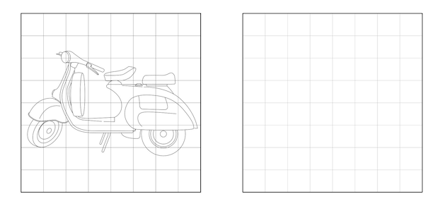Copia l'immagine del cartone animato della motocicletta