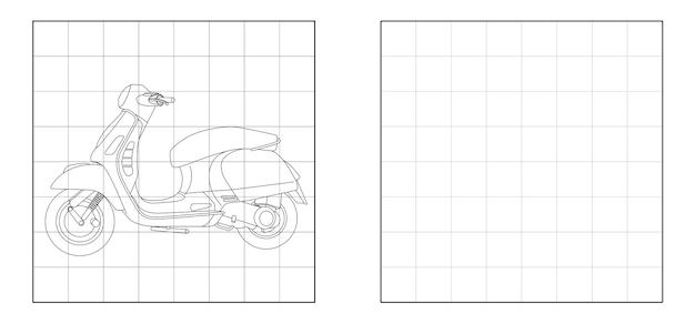 Copia l'immagine del cartone animato di contorno della motocicletta
