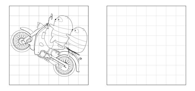 Copia l'immagine dei panda che guidano i cartoni animati della motocicletta