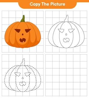 Copia l'immagine, traccia e colora, gioco educativo per bambini, foglio di lavoro stampabile, illustrazione