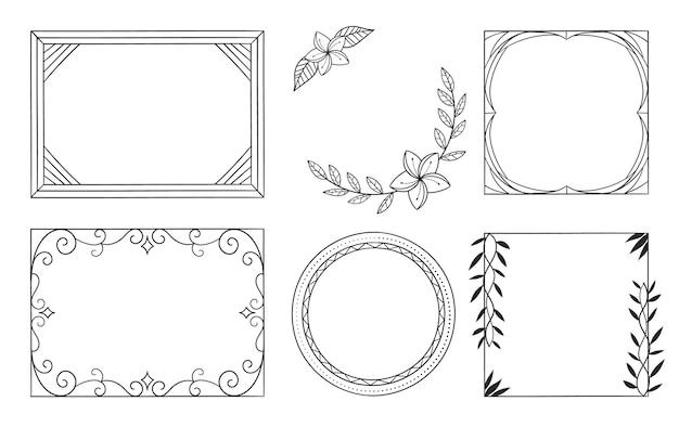 Copia spazio cornice ornamentale disegnata a mano set