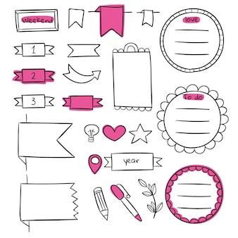 Copiare il modello di giornale di proiettile rosa spazio