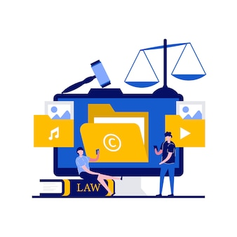 Copyright e concetti di diritto della tecnologia internet con carattere. legge e diritti sulla tutela dei brevetti e della proprietà intellettuale.