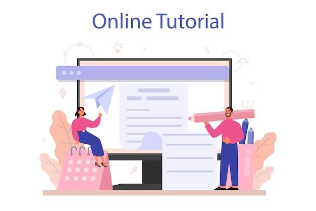 Servizio o piattaforma online di copywriter. idea di scrivere testi, creatività e promozione. realizzare contenuti di valore per gli annunci. tutorial in linea. illustrazione vettoriale