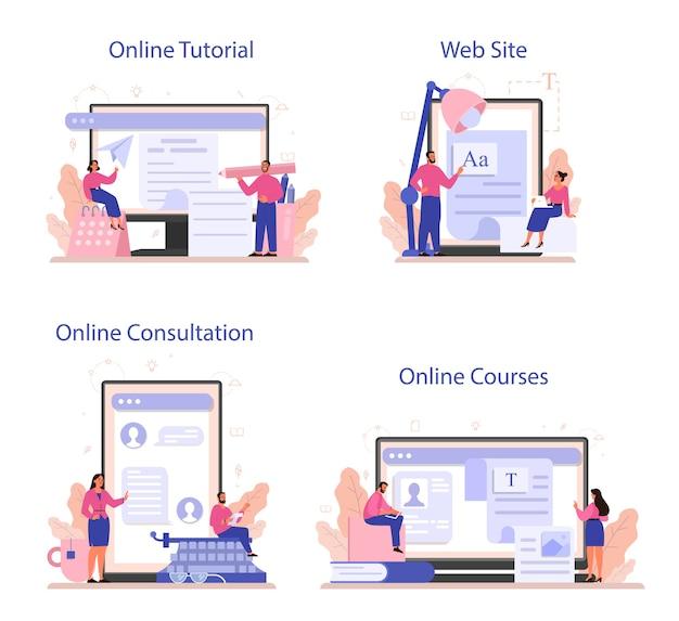Servizio online di copywriter o set di piattaforme.
