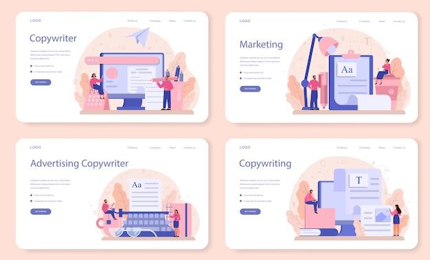 Banner web copywriter o set di pagine di destinazione