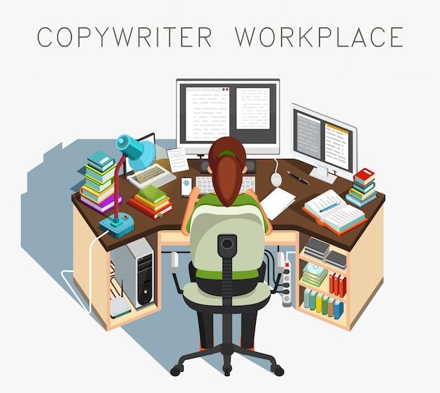 Luogo di lavoro di copywriter. scrittore al lavoro. attività giornalistica. illustrazione