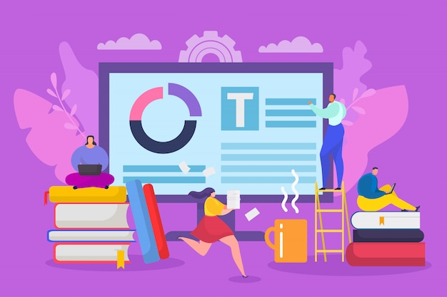 Concetto piano di affari del blog di copywriting, illustrazione. design content marketing online, creativo web writer uomo donna