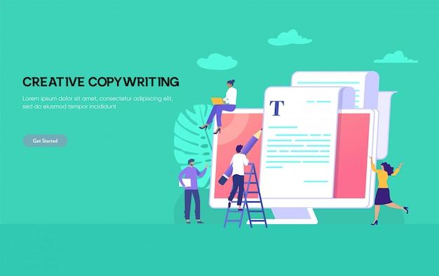 Il concetto dell'illustrazione di copywriting, l'uomo felice e la donna che scrivono l'articolo sul computer portatile possono essere utilizzati per, landing page, template, interfaccia utente, web, app mobile, poster, banner, flyer