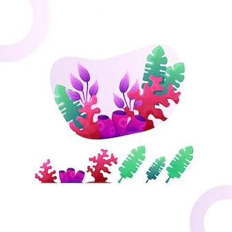Insieme dell'illustrazione del corallo e foglia