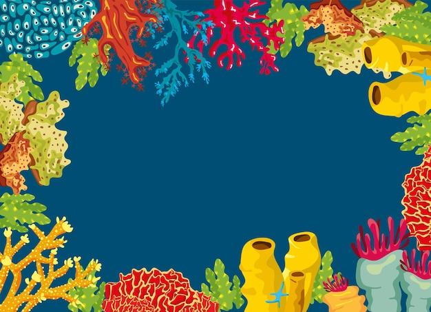 Coralli e alghe mare vita natura cornice illustrazione