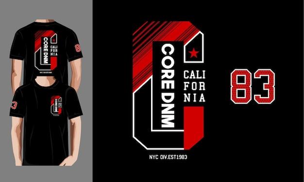 Core denim, modello di stampe di design t-shirt california.