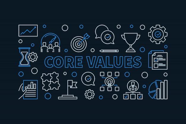 Icone di contorno di valori fondamentali