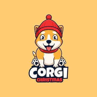 Cane corgi con berretto di natale cartone animato carino