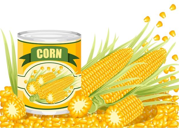 Mais in lattina di alluminio. mais dolce in scatola con logo di pannocchia di mais. prodotto per supermercato e negozio. illustrazione su sfondo bianco.