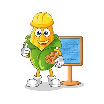 Illustrazione di architetto di mais. vettore di carattere