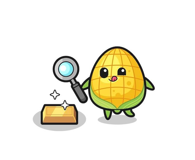 Il personaggio del mais sta controllando l'autenticità del lingotto d'oro, design in stile carino per maglietta, adesivo, elemento logo