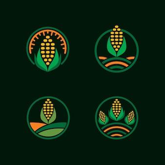 Collezione logo badge fattoria di mais
