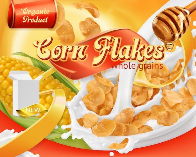 Corn flakes, miele e schizzi di latte. 3d vettoriale realistico, design del pacchetto