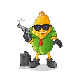 Mafia di mais con carattere di pistola. mascotte dei cartoni animati