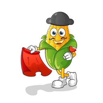 Matador di mais con illustrazione di panno rosso. carattere
