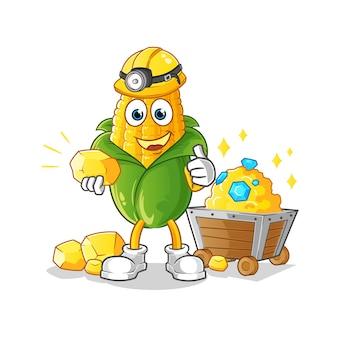 Minatore di mais con carattere d'oro. mascotte dei cartoni animati