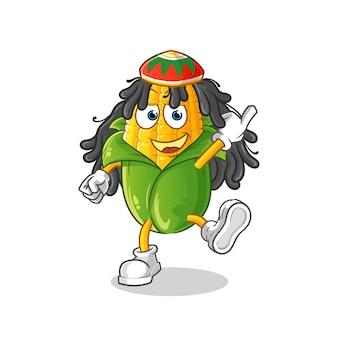 Fumetto del ragazzo del reggae del mais. mascotte dei cartoni animati