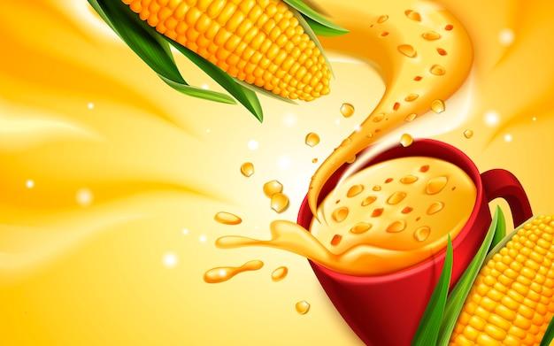 Zuppa di mais con effetto speciale, può essere utilizzata come elementi