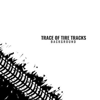 Cornice d'angolo di traccia di tracce di pneumatici con disegno astratto di pneumatici graffiati