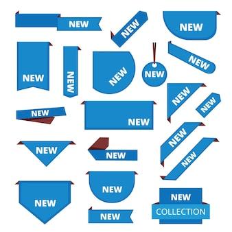 Etichette d'angolo. barra delle schede degli adesivi promozionali per le nuove informazioni sui tag di vendita del mercato della merce.