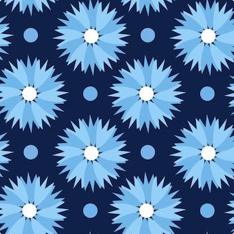Reticolo di fiori di fiordaliso. ripeti lo sfondo floreale per il design tessile.