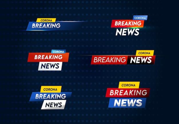 Set di modelli di ultime notizie corona