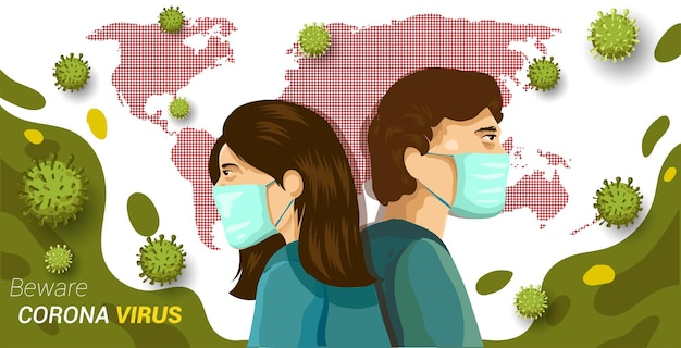 Virus corona in cina, illustrazione vettoriale. coronavirus (2019-ncov), uomo e donna indossano una maschera medica. concetto di poster attenzione al coronavirus.