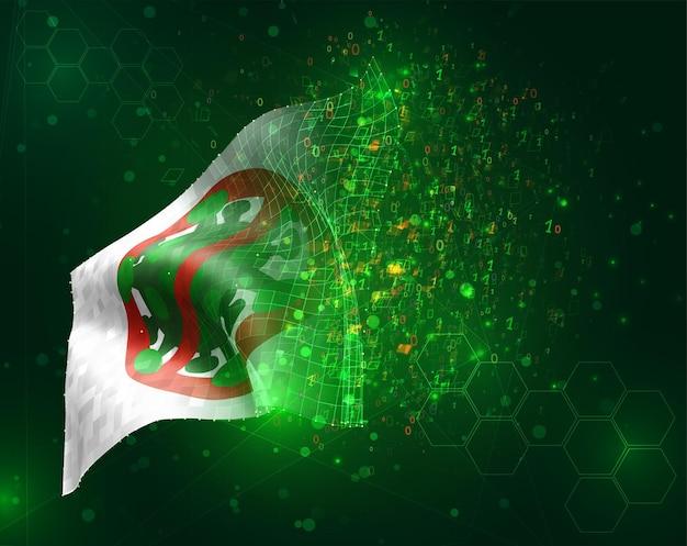 Il virus corona è stato cancellato con il segnale di stop rosso bandiera bianca 3d vettoriale su sfondo verde con poligoni e numeri di dati