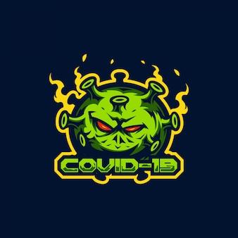Mascotte di virus corona e logo esport
