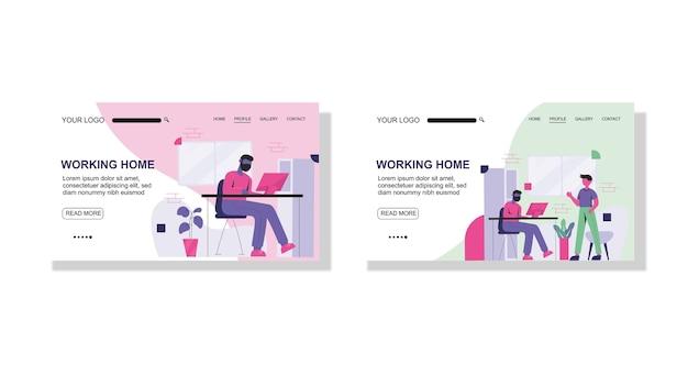 Quarantena del virus corona e modello piatto del sito web della pagina di destinazione del lavoro a casa