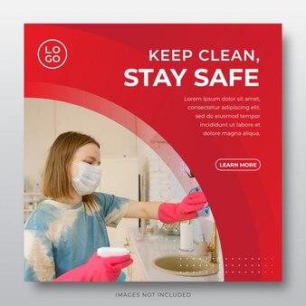 Modello di post sui social media di corona virus - resta a casa, risparmia, mantieni pulito