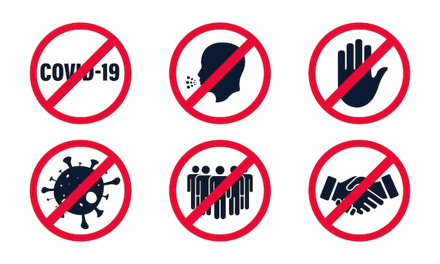 Coronavirus, 2019-ncov. set di segnale di divieto stop red. raccolta di segni vietati, nessuna folla, stretta di mano, contatto, tocco, coronavirus, tosse. arresti il segno rosso. pericoloso