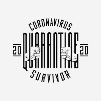 Coronavirus 2020 quarantena sopravvissuto distintivo o etichetta o logo modello di progettazione con composizione scritta e silhouette di mani che tengono la parola di quarantena come prigioniero dietro le sbarre. illustrazione