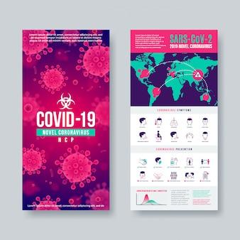 Banner di coronavirus impostato con elementi di infografica. nuovo design di coronavirus 2019-ncov. concetto di pericolosa pandemia di covid-19.